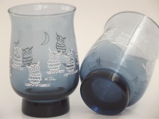 Vintage Owl Print Drinking Glasses 70s Retro Libbey Glass