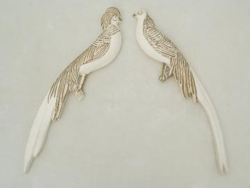 Vintage pair golden pheasant wall plaques, chalkware birds w/ long tails