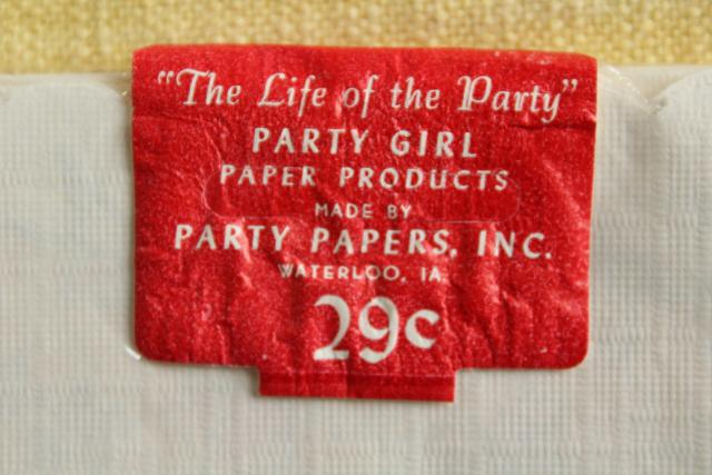 vintage paper napkins Hen Party girl Life of the Party label sealed package