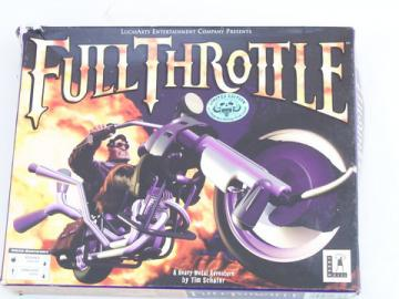 Vintage PC LucasArts motorcycle video game Full Throttle/original box