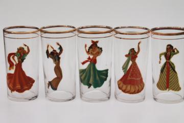 vintage peekaboo dancing girl bar glasses, retro novelty tumblers pinup girls in veils