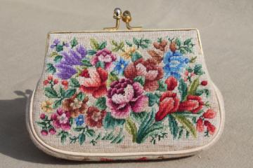 Vintage petit point evening bag purse, petitpoint embroidered tapestry purse