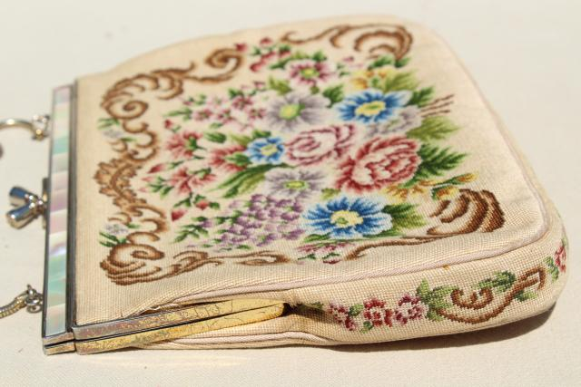 vintage petit point needlepoint tapestry purse, evening bag w/ embroidered floral