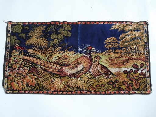 Vintage pheasant game birds wall hanging tapestry rug, plush velvet fabric