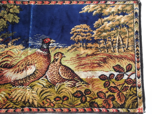 Vintage pheasant game birds wall hanging tapestry rug ...