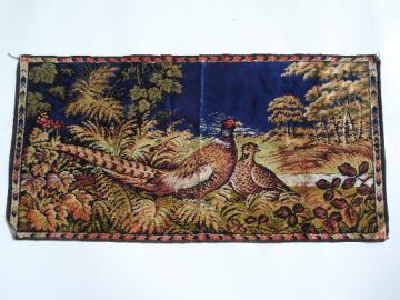 Vintage pheasant game birds wall hanging tapestry rug, plush velvet fabric