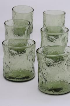Vintage pinch glass tumblers, bubble texture green glass drinking glasses set