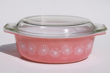 vintage pink daisy Pyrex oval casserole 043, 1 1/2 qt baking dish pan w/ lid