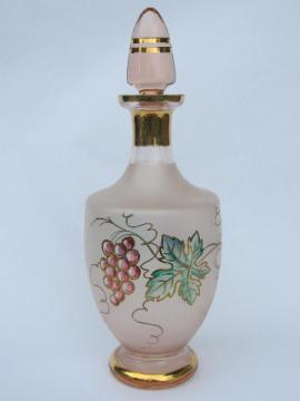 Vintage pink frosted satin glass wine decanter bottle, grapes and gold