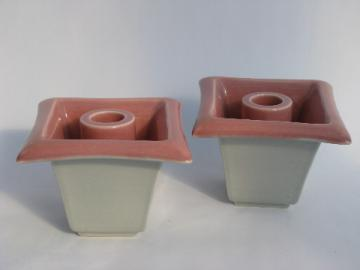 Vintage pink & gray candle sticks, mod shape