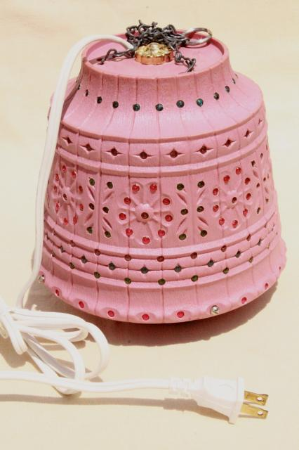 Vintage Pink Plastic Flower Pot Swag Lamp W Beads Retro