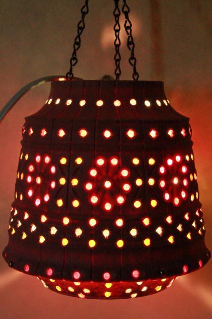Vintage Pink Plastic Flower Pot Swag Lamp W Beads Retro