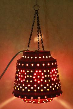 vintage pink plastic flower pot swag lamp w/ beads, retro hanging lantern light