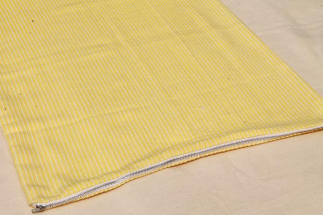vintage pink & yellow zip pillowcase shams, 70s toughcord corded weave cotton/poly