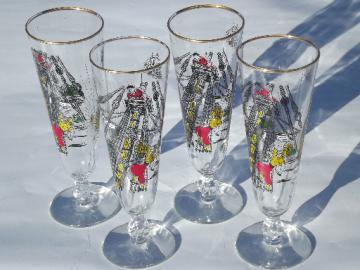 Vintage pirate ship pilsner beer glasses, retro 60s Libbey glassware set