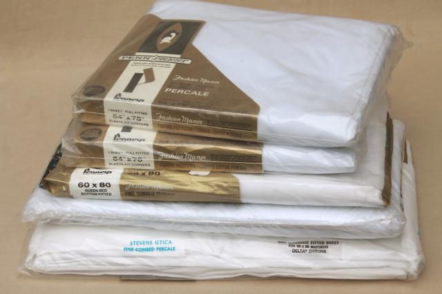 Vintage Plain White Cotton Blend Bedding Fitted Flat Bed Sheets Full Queen Size