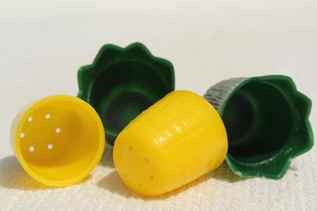 vintage plastic S&P sets, mod bullet shape shakers on tray, sweet corn salt & pepper