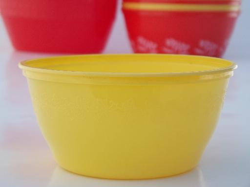 Vintage Plastic Margarine Tub Bowls Red Amp Yellow Gold