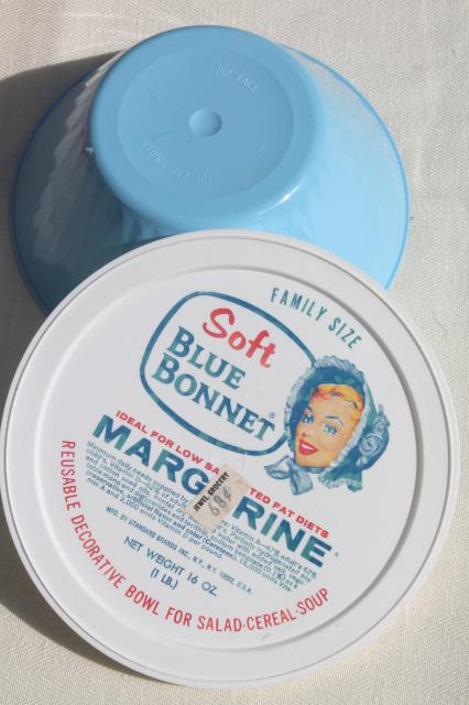 Vintage Plastic Margarine Tubs Bowls In Bright Primary