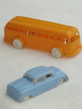 Vintage Plasticville plastic toy cars, retro sedan & school bus