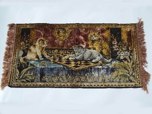 Vintage plush velvet kittens wall hanging tapestry rug, made in Italy?