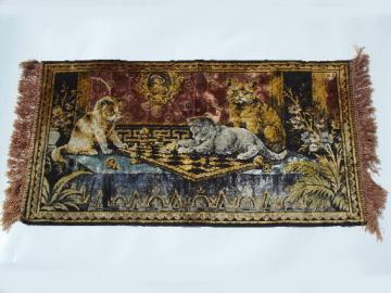Vintage plush velvet kittens wall hanging tapestry rug, made in Italy?