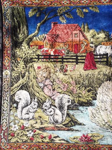 Vintage Plush Wall Hanging Tapestry Rug Peasant Scene W