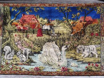 Vintage plush wall hanging tapestry rug, peasant scene w/ farm animals
