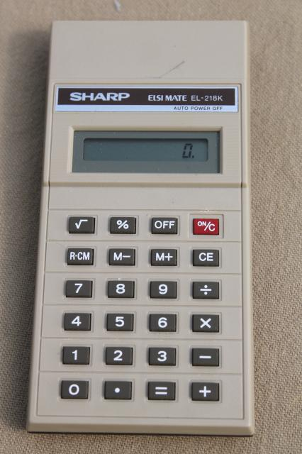 vintage pocket calculators lot, Sharp EL218K & Radio Shack EC-328
