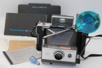 Vintage Polaroid Land camera 101 automatic w/ manual & accessories