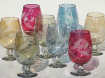 Vintage port wine glasses, colored luster tinted  glass wine glasses