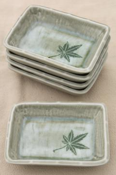 vintage pottery dishes or ashtrays w/ marijuana leaf design, hippie 60s 70s retro