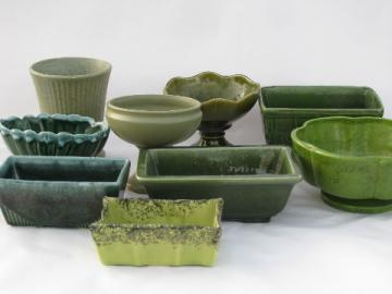 Vintage pottery planters lot, all shades of green - Floraline McCoy, Brush etc.