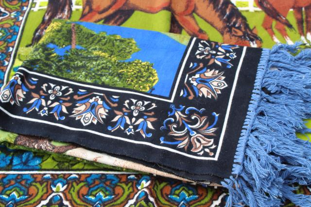 vintage print fabric wall hanging tapestries, arabian horse ranch horses