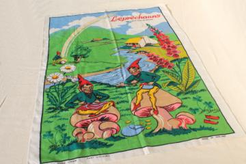 vintage print linen tea towel w/ Irish leprechauns, rainbow gnomes on toadstool mushrooms