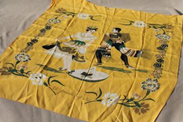 Vintage print scarf w/ Mexican dancers hat dance, souvenir of Tijuana Mexico