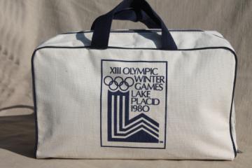 Vintage printed cotton tote / gym duffel bag, 1980 Lake Placid winter Olympics
