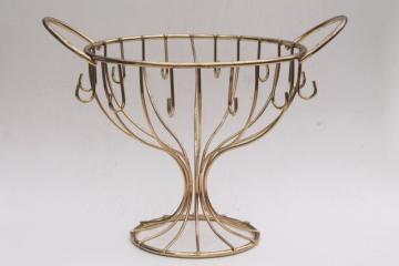 vintage punch bowl or buffet dish stand, urn shape wire bowl display rack w/ hooks