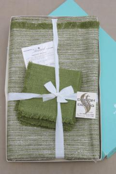 Vintage pure linen tweed table linens in original box, Irish green tablecloth & napkins set