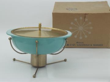 Vintage Pyrex atomic warming stand & aqua glass chafing dish casserole