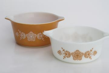 "Vintage Pyrex butterfly gold pattern casserole dishes, 6"" diameter pans"