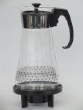 Vintage Pyrex glass coffee carafe in mod black print w/ warmer stand