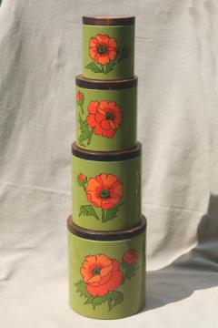 Vintage Ransburg kitchen canisters set, red poppies on olive green, 60s - 70s retro!