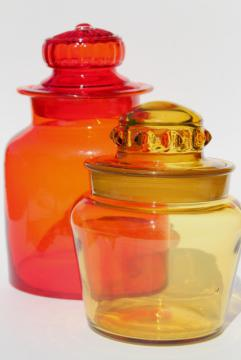 vintage red & amber colored glass canister jars, mod apothecary bottle candy canisters
