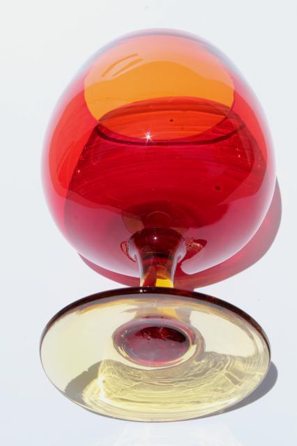 Vintage Red Orange Amberina Art Glass Vase Big Brandy Snifter Glass Fish Bowl Shape