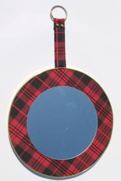 Vintage red tartan mirror, schoolgirl plaid collegiate style pin board frame