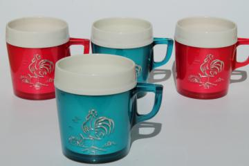 vintage red, white and blue plastic picnic cups, insulated thermoware mugs