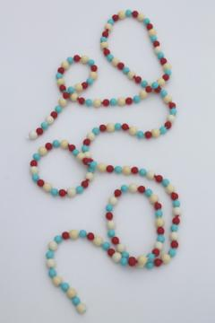 Vintage red white and blue plastic pop beads, summer party costume jewelry necklace