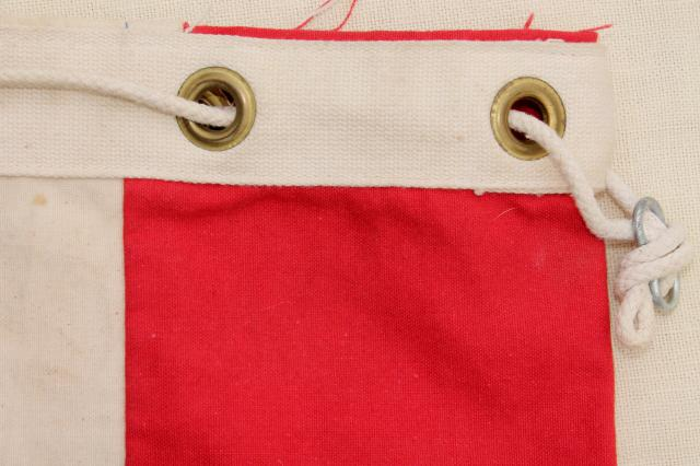 vintage red white & blue Bicentennial sail cloth canvas ditty bag, drawstring tote mailbag