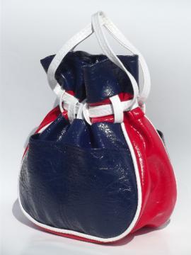 Vintage red white & blue purse, retro boho drawstring pouch handbag